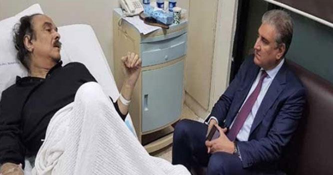 شاہ محمود کی نعیم الحق کی عیادت کیلئے مقامی ہسپتال آمد، خیریت دریافت کی