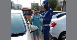 لاہور میں ٹریفک پولیس اہلکار کیساتھ بد تمیزی کرنے والی خاتون کی شناخت ہوگئی