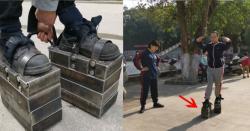 جوتوں کے ساتھ 150 کلو وزن باندھ کر چلا پھر ۔۔۔ ایسا کرنے سے شہری کو کیا فائدہ ہوا؟